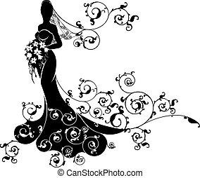 Bride Abstract Wedding Silhouette Design - Wedding bride...