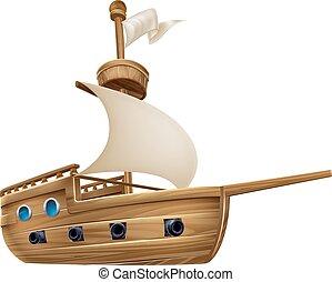 Cartoon Sailing Ship - An illustration of a cartoon sailing...