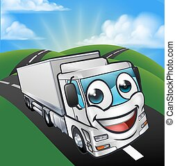 Cartoon Truck Lorry Mascot Character scene
