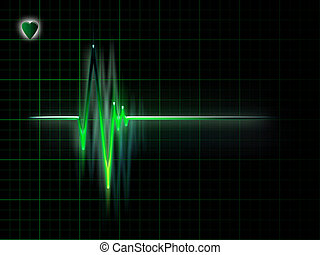 ECG - electrocardiogram graph on a dark background