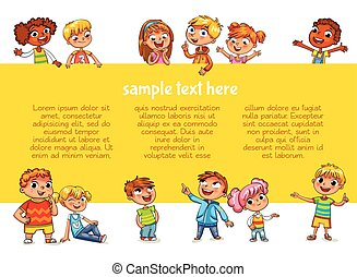 Happy children holding poster. Ready for your message -...