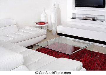 Living space with white leather couch