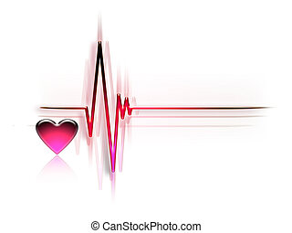 ECG - electrocardiogram graph isolated on a white background