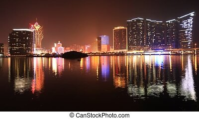 Macao Casino night - Cityscape timelapse of Macao Casinos...
