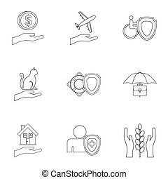 Confidence icons set, outline style - Confidence icons set....