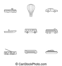 Trip on transport icons set, outline style