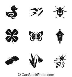 Zmierzając, ogród, ikony, komplet, styl, prosty