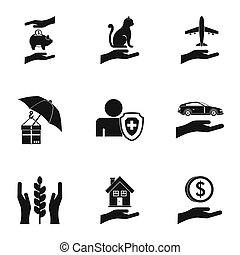 Protection icons set, simple style - Protection icons set....