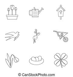 Tending garden icons set, outline style - Tending garden...