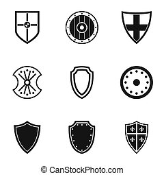 Military shield icons set, simple style - Military shield...