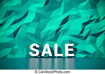 Green polygon wall background with big word sale - Abstract...
