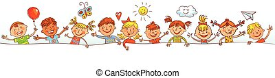 Group of children with blank board. Drawing like children -...