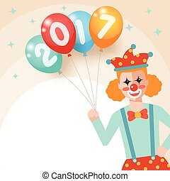 Clown holding bunch of colorful balloons