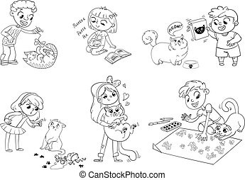 Child care for cat. Vector illustration - Boy teasing cat....