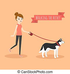 Vector illustration of young girl walking with her dog.