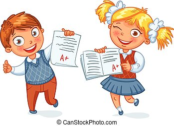 Boys and girls showing perfect test results. An A student....