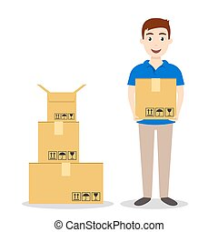 Young smiling delivery service man holding boxes