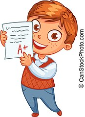 Boy showing perfect test results - Boy learns perfectly. An...