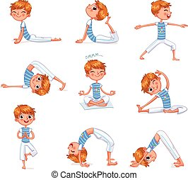 Boy engaged in physical exercises. Yoga kid - Boy engaged in...
