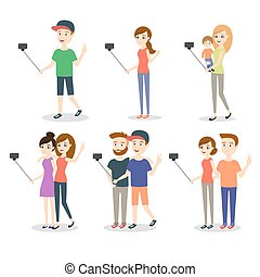 Vector illustration of people making selfie. Couples and...