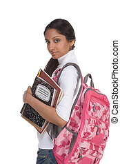 College student young Indian woman with backpack - education...