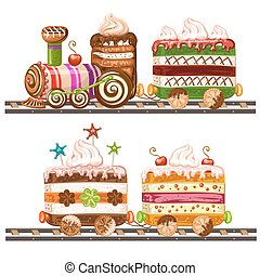 Train cake with cherry, chocolate and biscuits