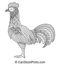 Chicken - Zendoodle design of chicken for adult coloring...