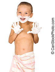 Boy shaving - Little boy shaving isolated on white...