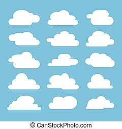Flat cloud on blue background. Flat icon collection for web,...