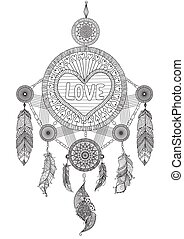 hearted shape dream catcher - Heart shape dream catcher with...