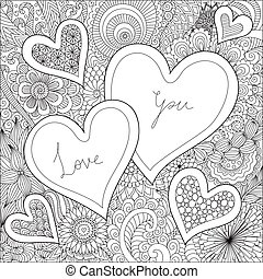 Hearts on flowers for coloring books for adult or valentines...