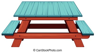 Picnic table painted blue