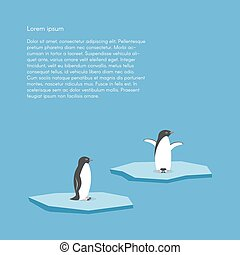 Vector background with two penguins standing on stylized...