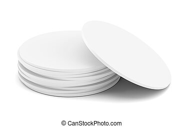 Empty white beer coaster. Isolated on white background. 3d...