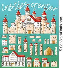 Vector cartoon cute creator castles. Set of architecture.
