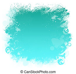 Aqua Grunge Paint Smear Background - Grunge aqua paint...