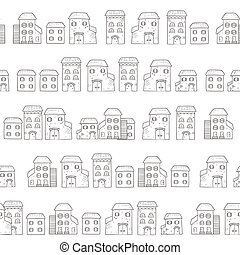 Vector seamless cartoon pattern, made of houses in European...