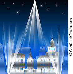Metropolis - Retro illustration of a city at night with...
