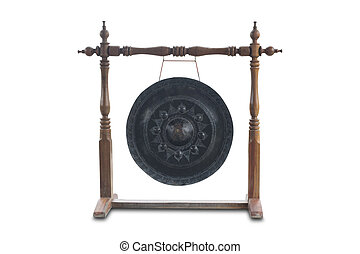 Gong isolated on white background with clippingpath