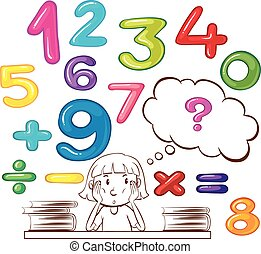 Girl thinking about numbers
