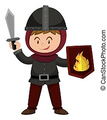 Boy in knight outfit holding sword illustration