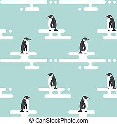 Seamless vector pattern with penguins standing on stylized...