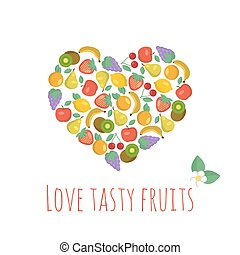 Vector heart-shaped composition with tasty fruits. Vector background.