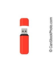 Flash drive USB memory stick isolated on white background in...