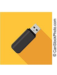 Flash drive USB memory stick icon on yellow background in flat style.