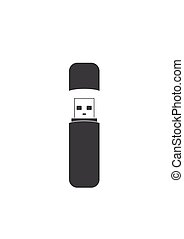 Flash drive USB memory stick icon isolated on white background.