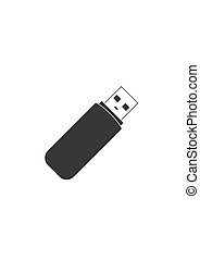 Flash drive USB memory stick icon isolated on white...