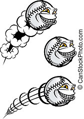Baseball symbol - Flying funny baseball ball isolated on...