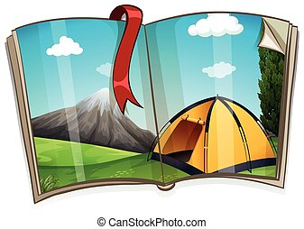 Camping site in the book illustration