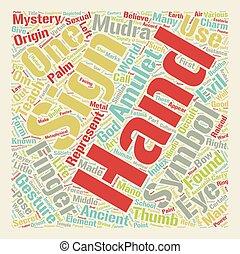 concepto, texto, Mudras, mano, wordcloud, 2, Plano de fondo,...